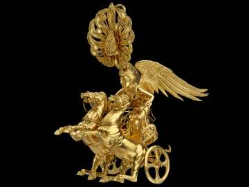 Earring with Nike driving a two-horse chariot