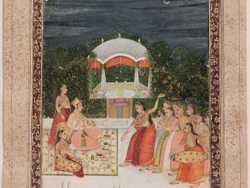 Prince on a terrace with female dancers and musicians
