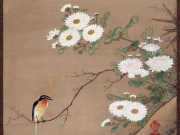Flycatcher and Chrysanthemums