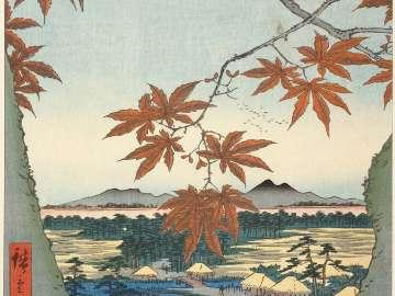 Maple Trees at Mama, Tekona Shrine and Linked Bridge (Mama no momiji Tekona no yashiro Tsugihashi), from the series One Hundred Famous Views of Edo (Meisho Edo hyakkei)