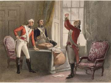 George Washington in British Regular uniform and two Officers