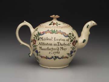 Covered Creamware Teapot