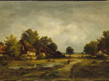 Landscape With Figure Near Pond and Cottages