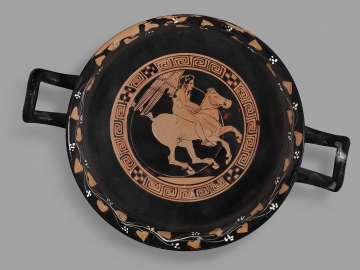 Drinking cup (kylix) with Eros riding a horse