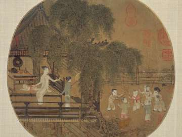 Women and children by a lotus pond