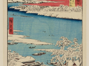 Musashi Province: Sumida River, Snowy Morning (Musashi, Sumidagawa, Yuki no ashita), from the series Famous Places in the Sixty-odd Provinces [of Japan] ([Dai Nihon] Rokujûyoshû meisho zue)