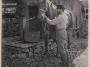 Man and Horse by Waterpump