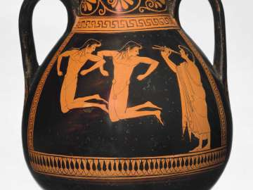 Two-handled storage jar (pelike) depicting young athletes jumping