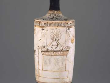 White ground oil flask (lekythos) depicting a grave monument for an athlete