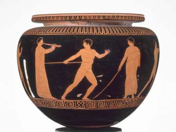Bowl (dinos) depicting athletes training