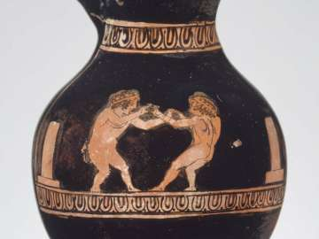 Miniature wine jug (chous) depicting two boys boxing