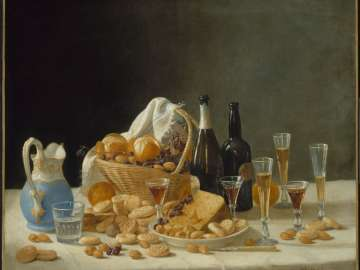 Still Life with Wine Bottles and Basket of Fruit