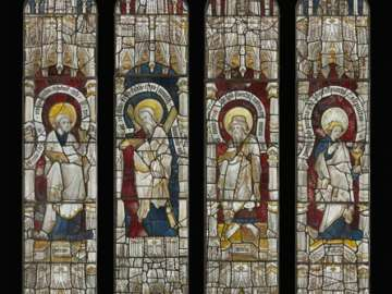 Window with Eight Apostles, the Pietà, and other Saints