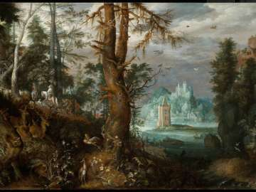Forest Scene with Hunters