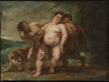Drunken Bacchus with Faun and Satyr