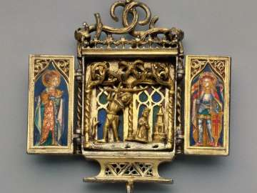 Triptych Pendant depicting Martyrdom of Saint Barbara, Mary Magdalen, and Saint Gereon