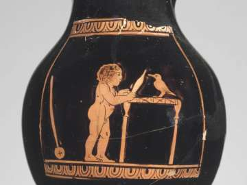 Miniature oinochoe (chous) depicting a nude boy with his pet bird