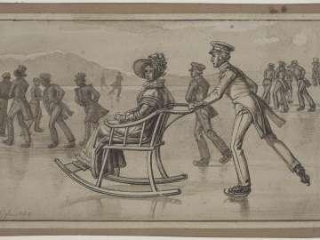 Woman in Sled with an Officer on Skates (Der Eisschlitten)