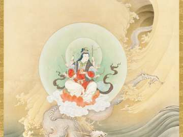 Benzaiten, the Goddess of Music and Good Fortune, on a Dragon