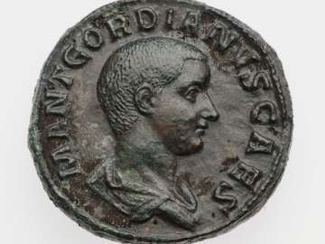 Sestertius with bust of Gordian III, struck under Balbinus and Pupienus
