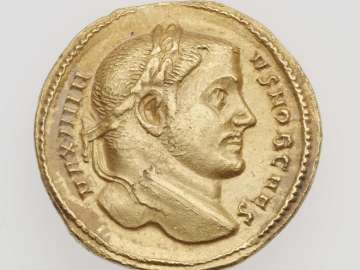 Aureus with head of Maximinus II Daia, struck under Galerius and Severus II
