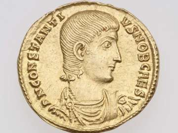 Solidus with bust of Constantius Gallus, struck under Constantius II