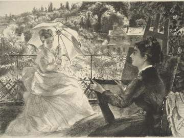Madame Bracquemond Sketching on the Terrace of the Villa Brancas