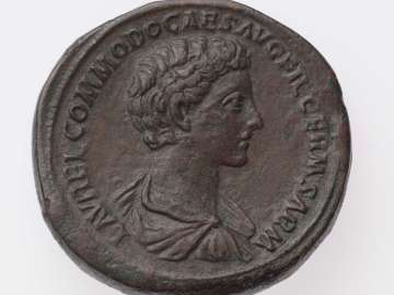 Sestertius with bust of Commodus, struck under Marcus Aurelius