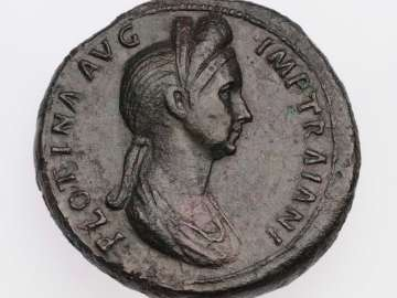 Sestertius with bust of Plotina, struck under Trajan