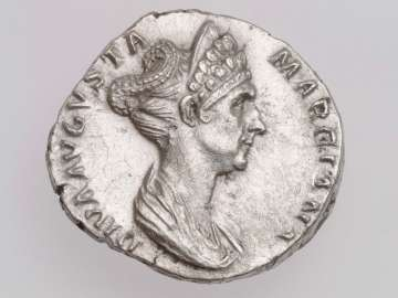 Denarius with bust of Diva Marciana, struck under Trajan