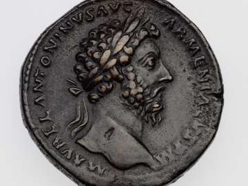 Sestertius with bust of Marcus Aurelius