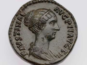 Dupondius with bust of Faustina II, struck under Antoninus Pius