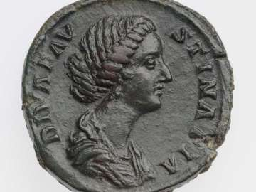 Sestertius with bust of Diva Faustina II, struck under Marcus Aurelius