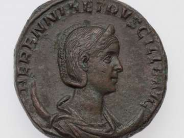 Double-sestertius with bust of Herennia Etruscilla, struck under Trajan II Decius