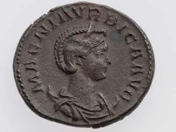 Antoninianus with bust of Magnia Urbica, struck under Carinus