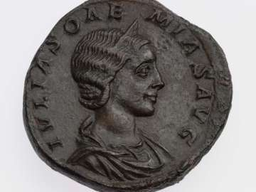 Sestertius with bust of Julia Soaemias, struck under Elagabalus