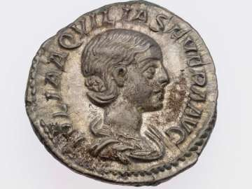 Denarius with bust of Aquilia Severa, struck under Elagabalus