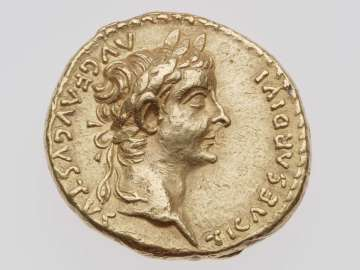 Aureus with head of Tiberius
