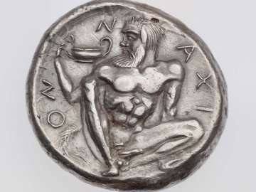 Tetradrachm of Naxos with head of Dionysos