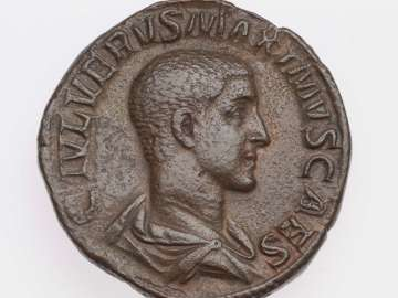 Sestertius with bust of Maximus, struck under Maximinus I Thrax