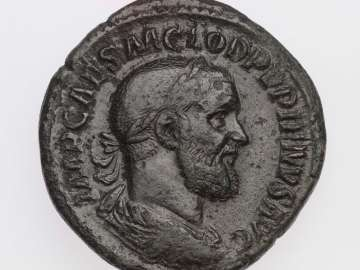 Sestertius with bust of Pupienus