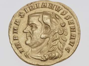 Medallion of four aurei with bust of Maximian I in the guise of Hercules