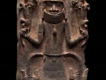 Relief plaque showing a king (Oba) dominating leopards