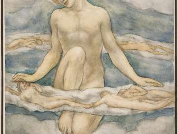 Nude Figure Kneeling Among Clouds