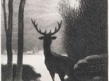 Stag in winter moonlight  (Stag at Fontainebleu)