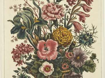 Basket of Flowers including London Pride, Carnations and Ten others, with beetle, on table (Probably from T. Bowles,