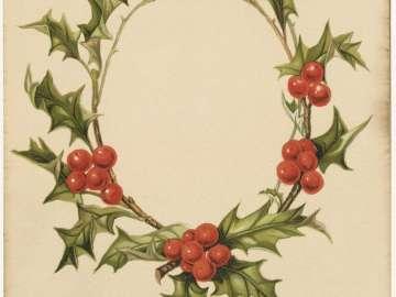 Card with Holly Wreath