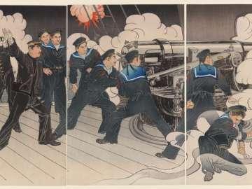 Lieutenant Commander Yamanaka, Chief Gunner of Our Ship Fuji, Fights Fiercely in the Naval Battle at the Entrance to Port Arthur (Ryojunkô no kaisen ni waga Fuji hôjutsuchô Yamanaka shôsa funsen)