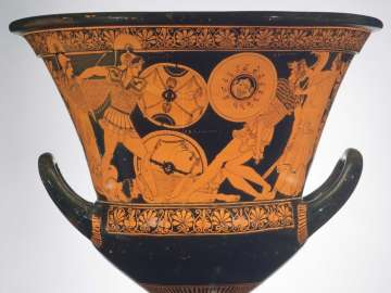 Mixing bowl (calyx krater) depicting dueling scenes from the Trojan war