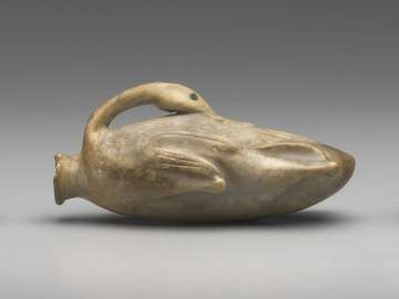 Ointment jar in the form of a trussed duck